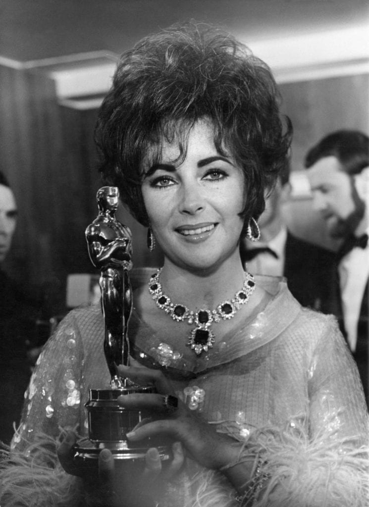 Elizabeth Taylor with her Academy Award for Who's Afraid of Virginia Woolf?