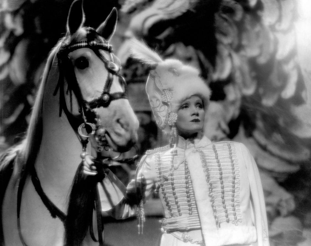 Dietrich played Catherine the Great in Sternberg's historically inaccurate but eye-popping The Scarlet Empress (1934)
