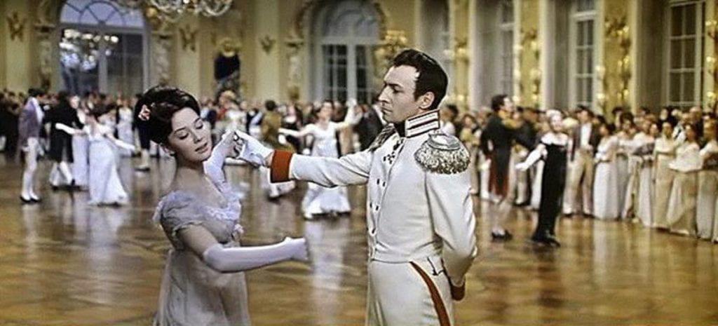 Andrei Bolkonsky (Vyacheslav Tikhonov) dances with Natasha Rostova (Lyudmila Savelyeva)