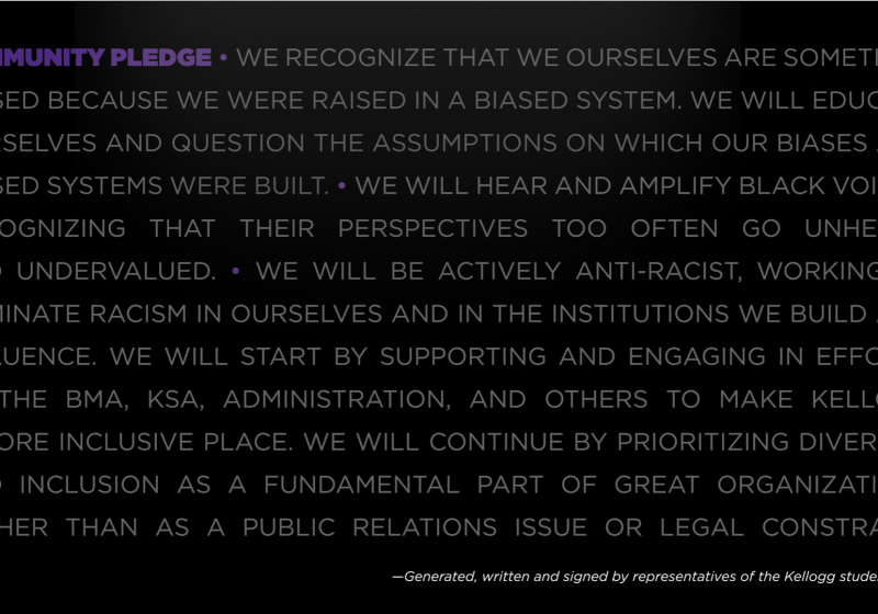 Kellogg community pledge of allyship to the black community.