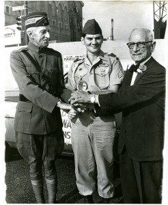 Veterans Day Parade, Oct. 25, 1971, Memphis. L-R: Chester Shields, 75, WWI veteran; Bob Reese, 22; Vietnam War veteran; Fred Bauer, 87, Spanish-American War veteran