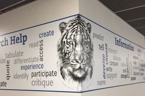 graphic with a tiger and informational wordart