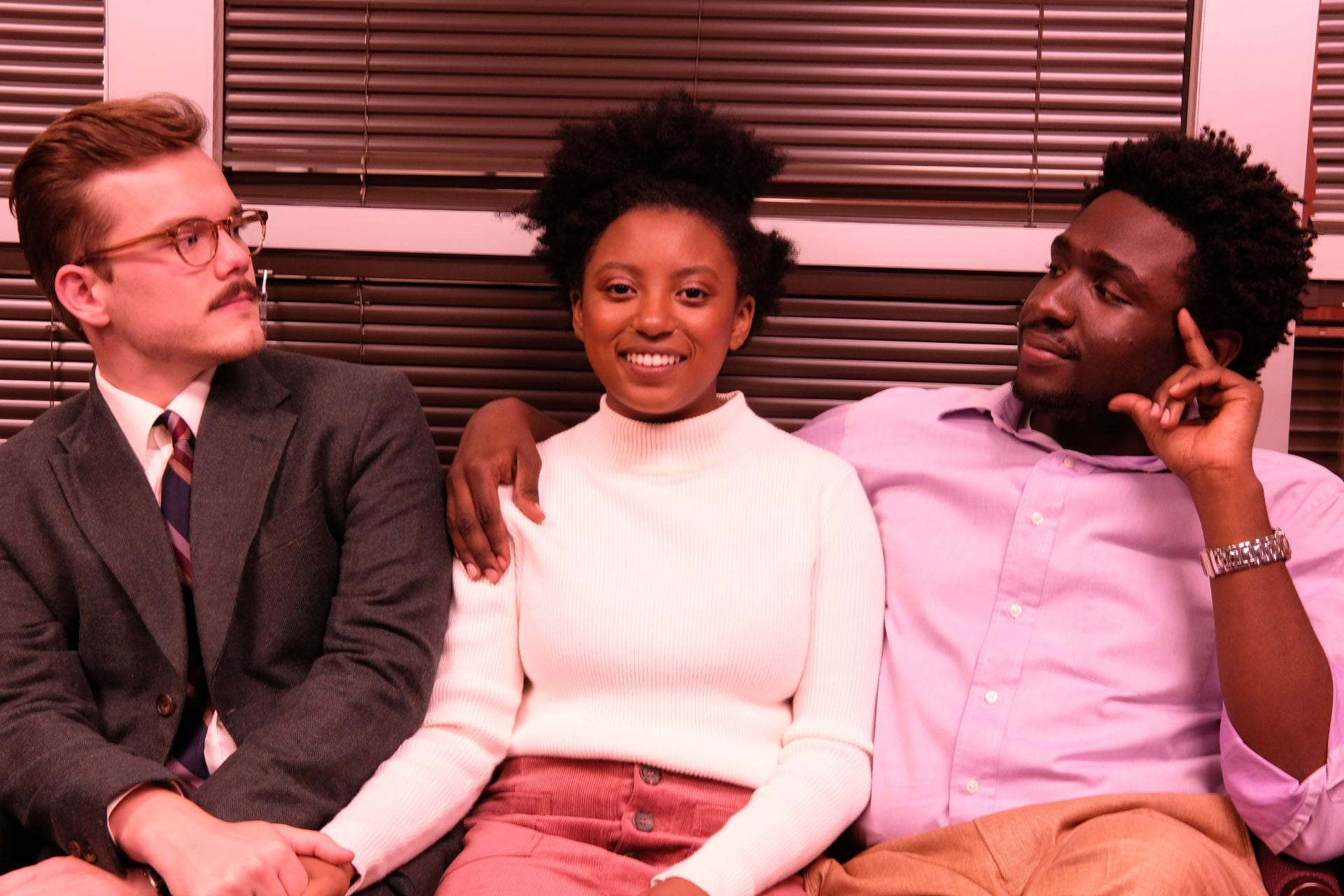 Cast members Steven McCoy, Ashley Clinton as Emma, and Deon'ta White.
