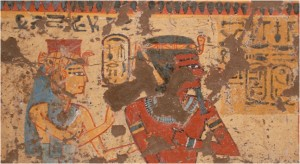 Ahmose-Nefertari and Amunhotep I receiving offerings from the deceased.