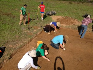 Beginning the excavation of Structure 2 and Structure 3 at Ames.