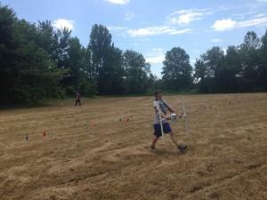 Ben Cross marching the gradiometer across Field 100.