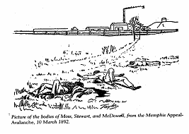 Picture of the bodies of Moss, Stewart, and McDowell, from Memphis Appeal-Avalanche, 10 March 1892. All three men are buried in Zion Cemetery.