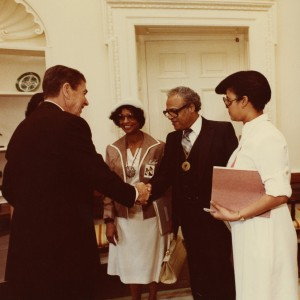 President Ronald Reagan, Ms. Francis Hooks, and Dr. Benjamin L. Hooks in 1981.