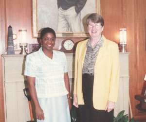Hooks Institute Executive Director, Daphene R. McFerren (Left) and Former United States Attorney General Janet Reno (right). Aug. 18, 2000. Photo credit: Jack Lacy