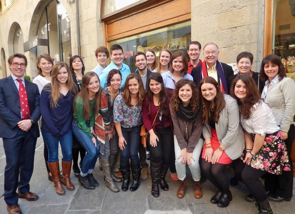 OU President David L. Boren and First Lady Molly Shi Boren are picture with OU students and staff in Arezzo, Italy. The OUA campus has become one of the many popular destination for Sooners studying abroad.