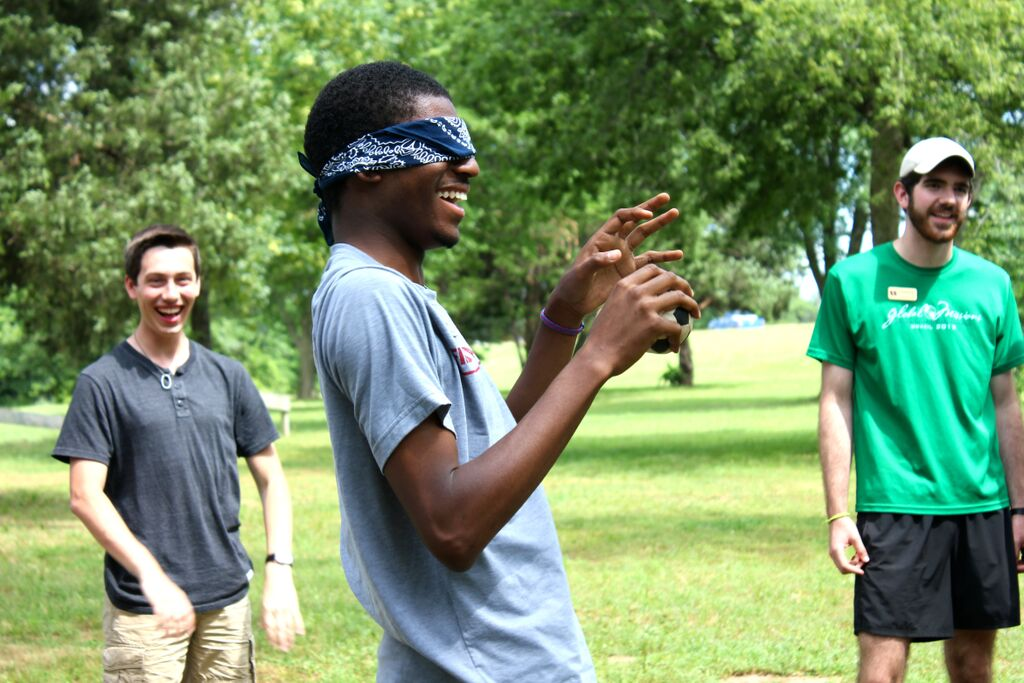 JD laughs as we do leadership group activities at the ropes course