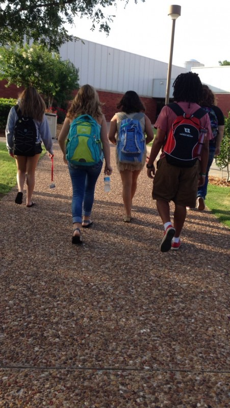 Students from Scientific Principles of Health and Disease walk to their early morning class together