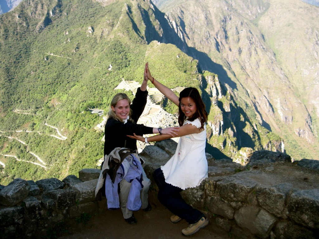 I met two Tri Delta sisters from Baylor and Emery, so of course we threw up the Delta in the Inca ruins! Here I am with Laura, a graduate of Baylor University.