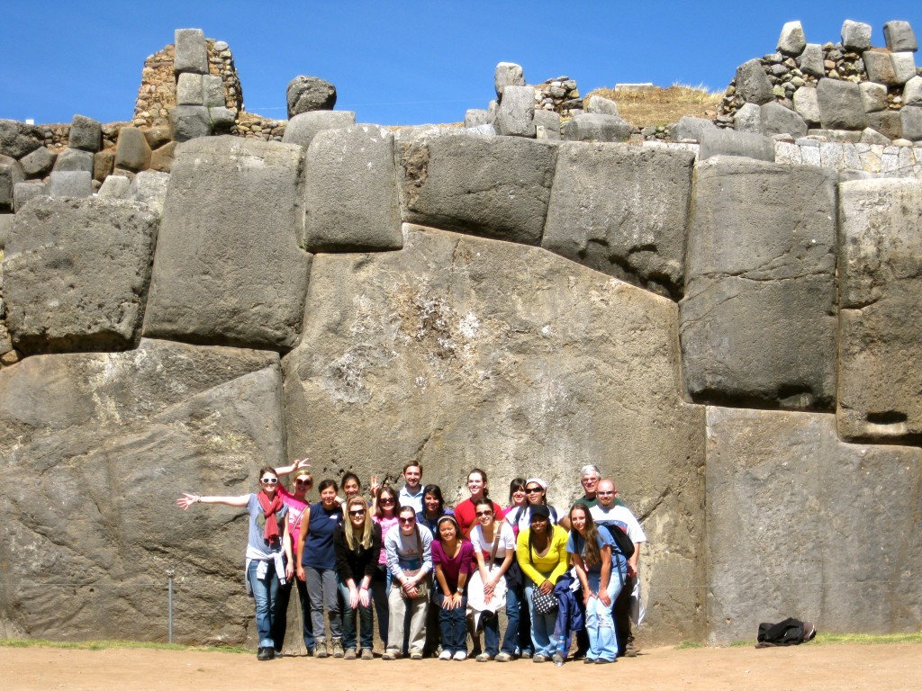 OU Journey to Latin America students at Sacsayhuaman, Inca ruins in Cuzco.