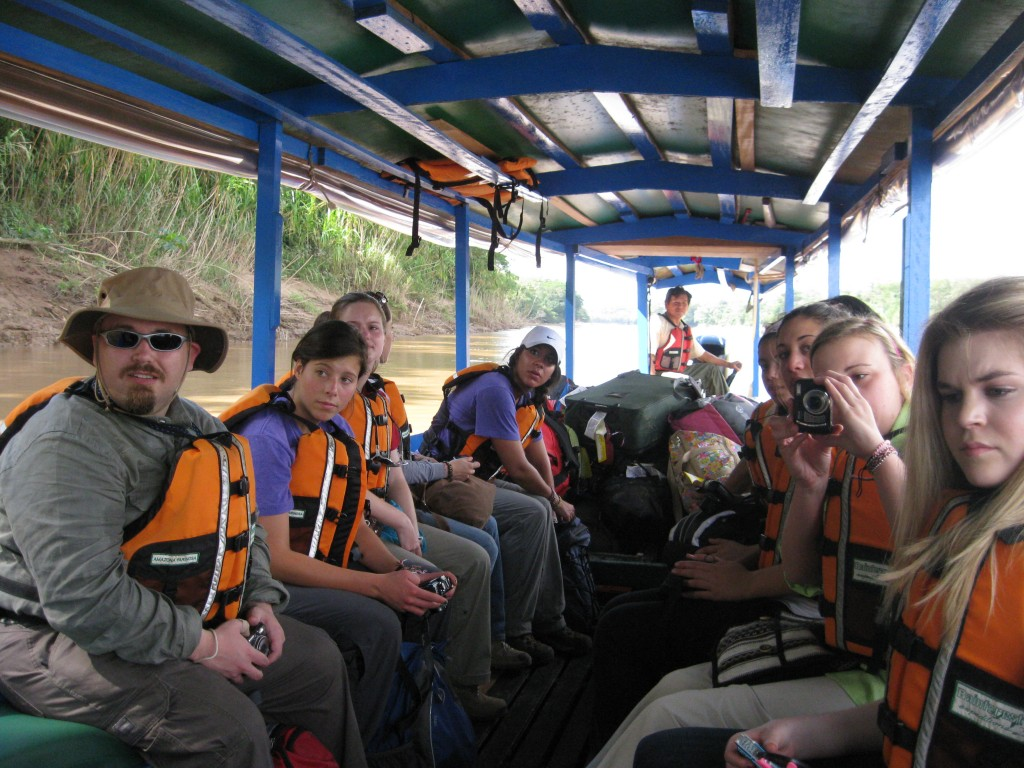 Our first boat ride in Peru. The boat ride to our lodge was about 2.5 hours, and we ate fried rice.