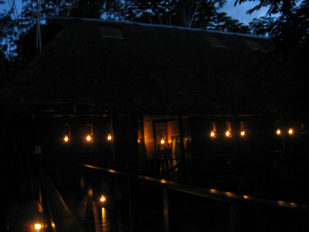 It was dark when we arrived to our lodge, but lines of kerosene lamps beautifully lit it.