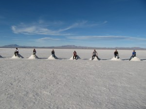 Near the Hotel de Sal, still in the middle of the salar.