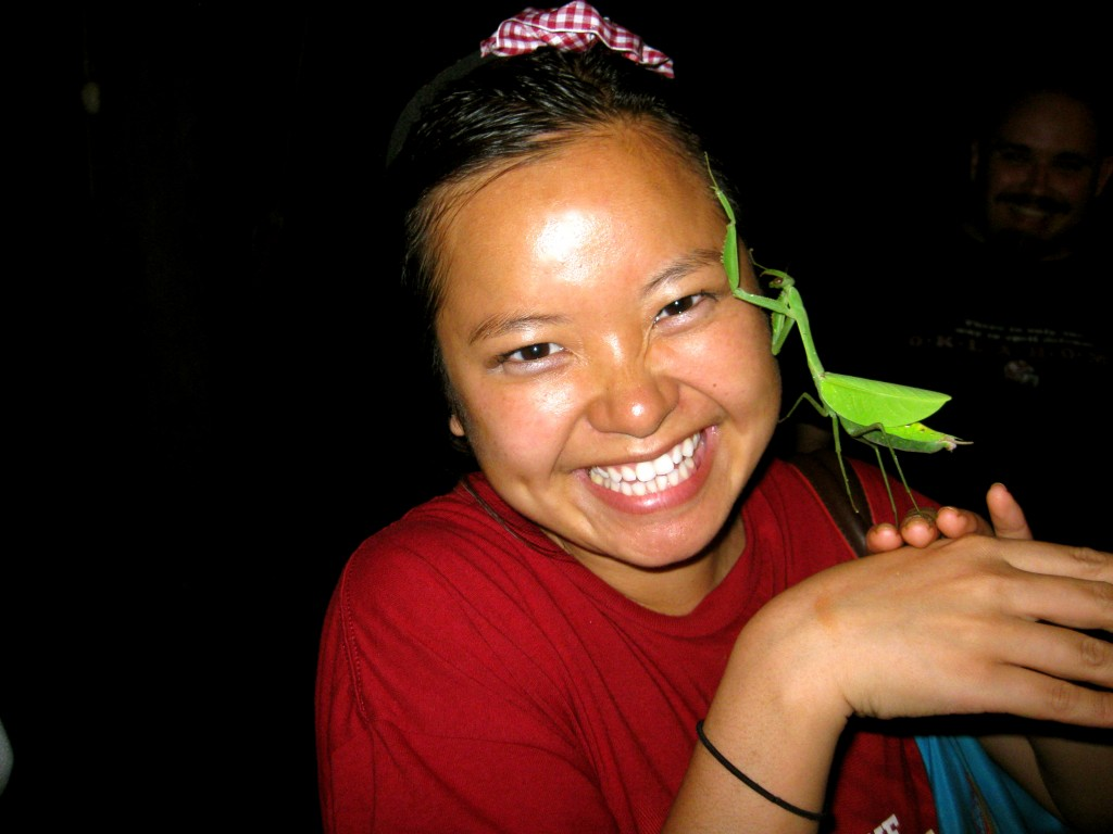 We had class in the upper-level of our lodge in the Amazon until we were distracted by a giant preying mantis, the size of my Hello Kitty iPhone--it was so cute...we played with it and it crawled on my head!