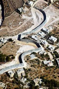 "Aerial view of the ""Separation Wall"" cutting through villages in an effort Israeli attempt to isolate itself from Palestinians."
