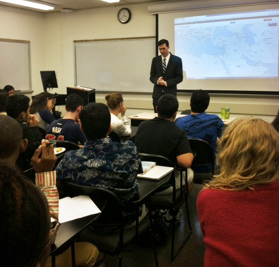 Professor Matthew Bolton speaking to students about the current events in Syria.