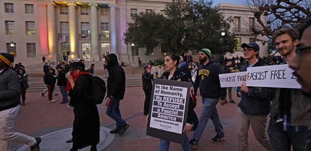 People marching in front of Sproul Hall to protest the appearance of Breitbart News editor Milo Yiannopoulos on Wednesday, Feb. 1, 2017, in Berkeley, Calif. (AP Photo/Ben Margot; Source: SPLC)