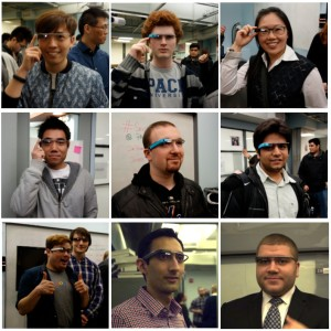 Students who tried on Glass at the event. Click-through for full-sized images