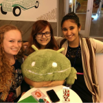 Friends from CSSI and Niamh, in a teacup at Google with an Android bot