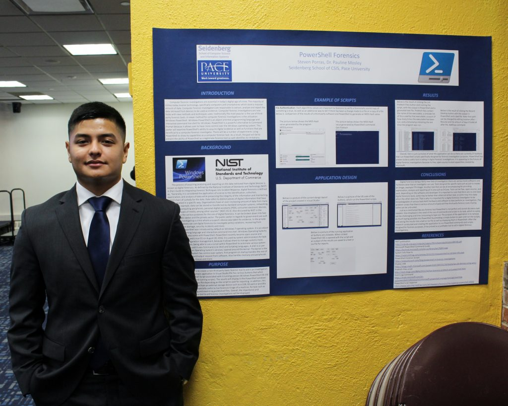 Student Steven Porras with his research project PowerShell Forensics