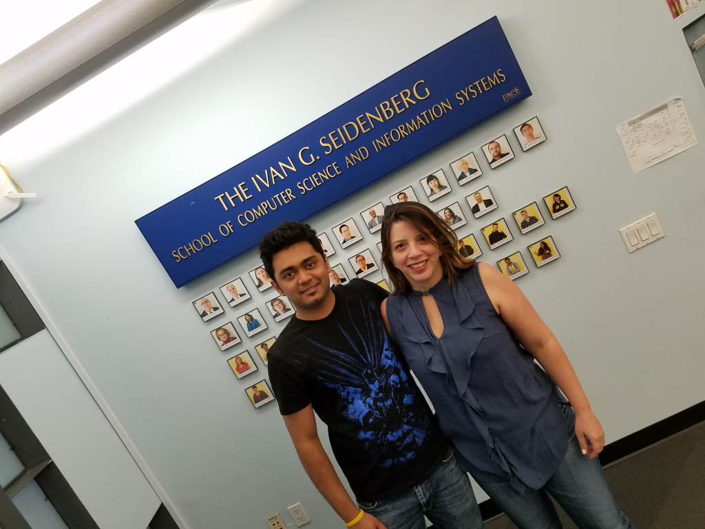Tejas Chavan with Professor Stacey Sarris after getting the good news that Tejas was awarded the scholarship