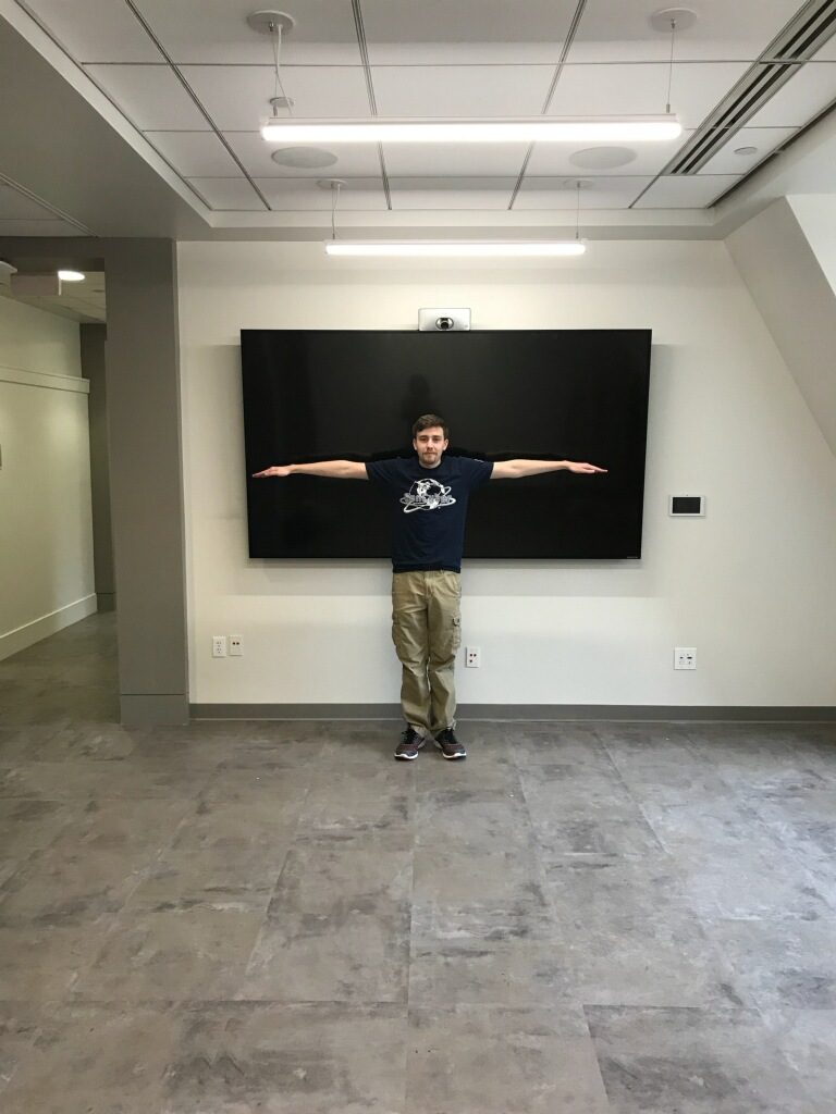 Our new touch TV, with added Tristan for scale!