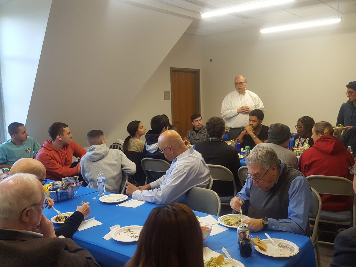 Seidenberg hosts inaugural student-faculty lunch in newly renovated Pleasantville office