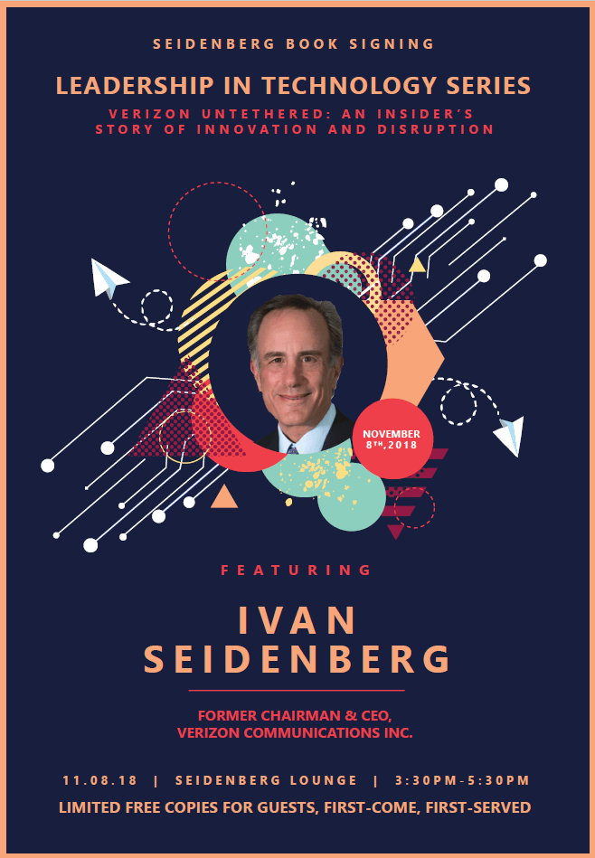 Exclusive talk and book signing by Ivan Seidenberg at Pace University on November 8