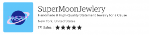 Image including shop name, number of sales, rating, and shop location for SuperMoon Jewelry.