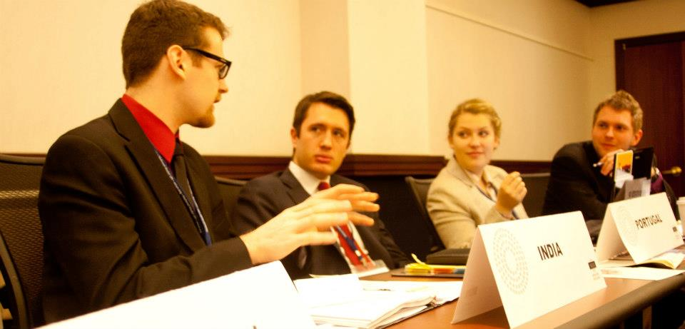 Michael Zona (second from left), Pace University New York City Model United Nations head delegate, representing Portugal in a simulation of the Security Council at the 2013 National Model UN.