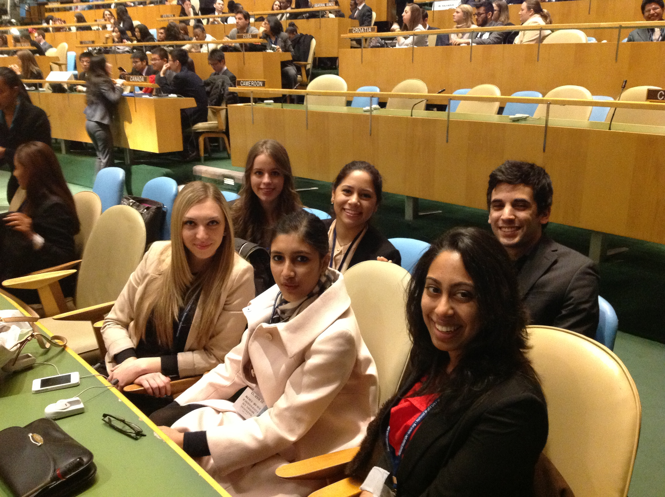 Pace University New York City students in the General Assembly Room at the 2013 National Moden UN Conference.