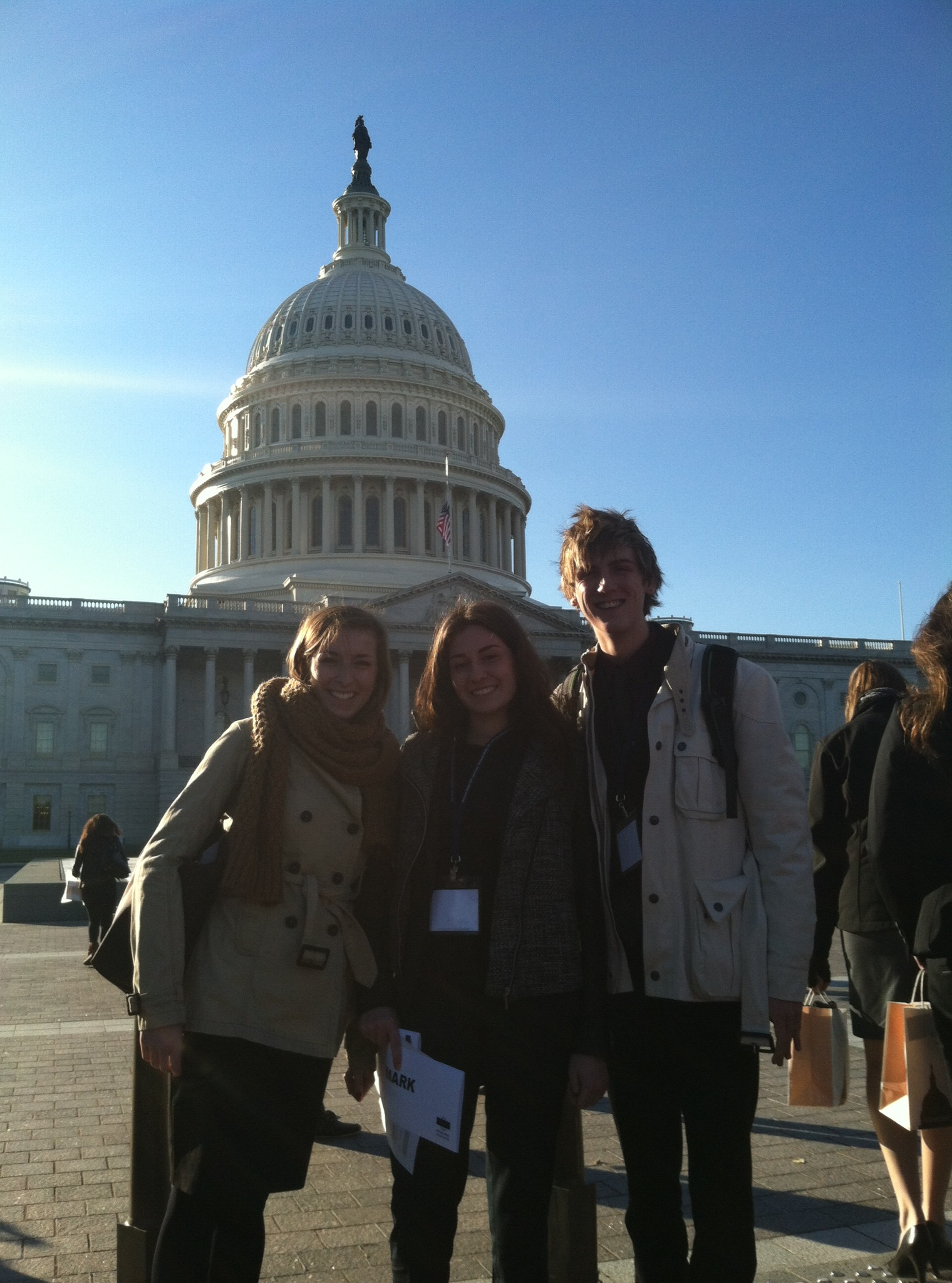 Kyla Korvne, Jessie Meredith and Cayman Mitchell, Pace University New York City Model UN students visiting Congress while at the 2013 National Model UN conference in Washington DC.