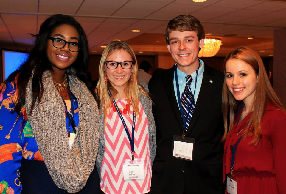 Pace University New York City student Lindita Capric '17 (right) with other delegates in a simulation of the UN General Assembly Second Committee at the 2013 National Model UN conference in Washington DC.