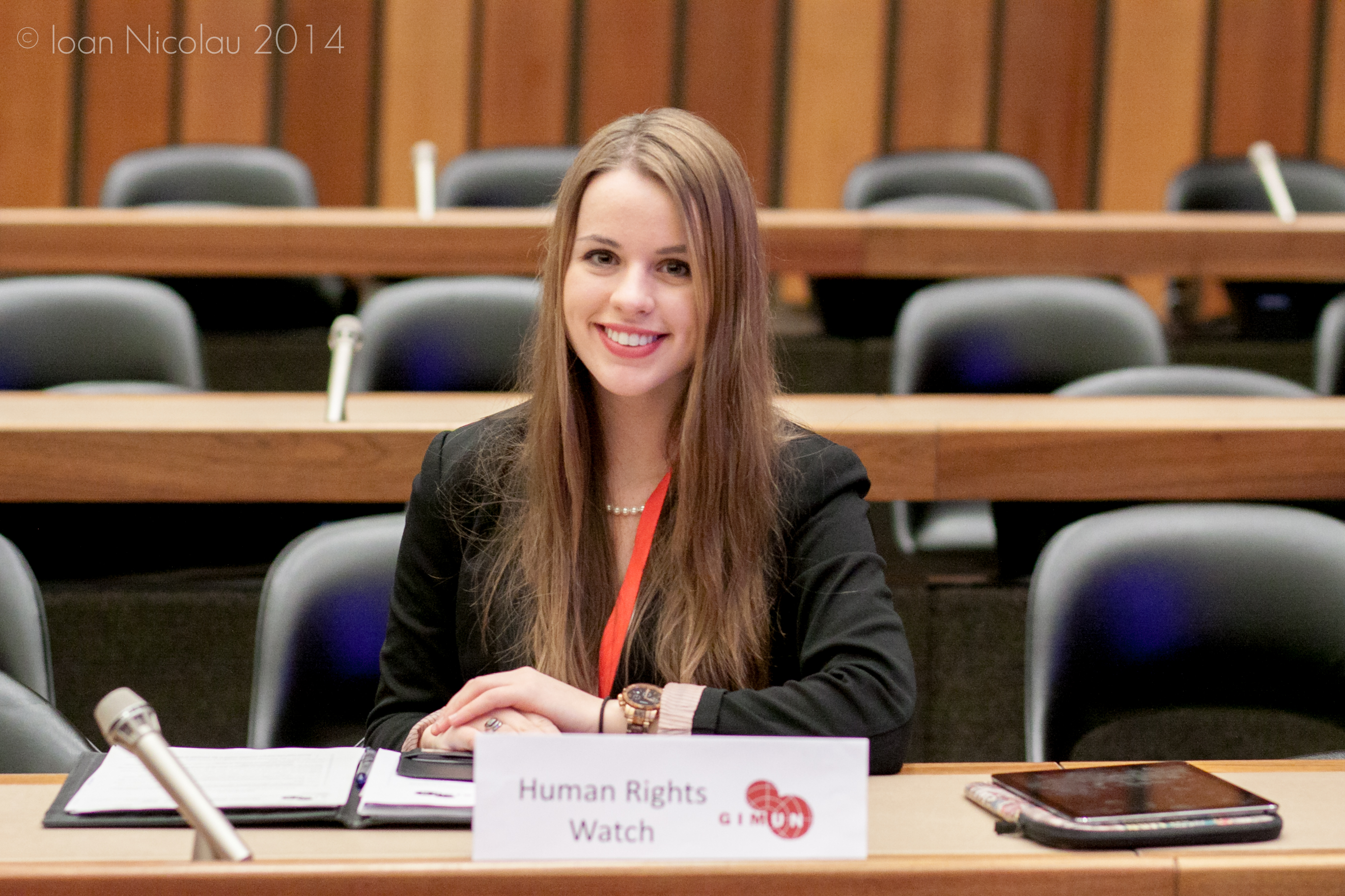 Pace University student Lindita Capric '16 representing Human Rights Watch at a simulation of the Human Rights Council at the 2014 Geneva International Model UN conference.