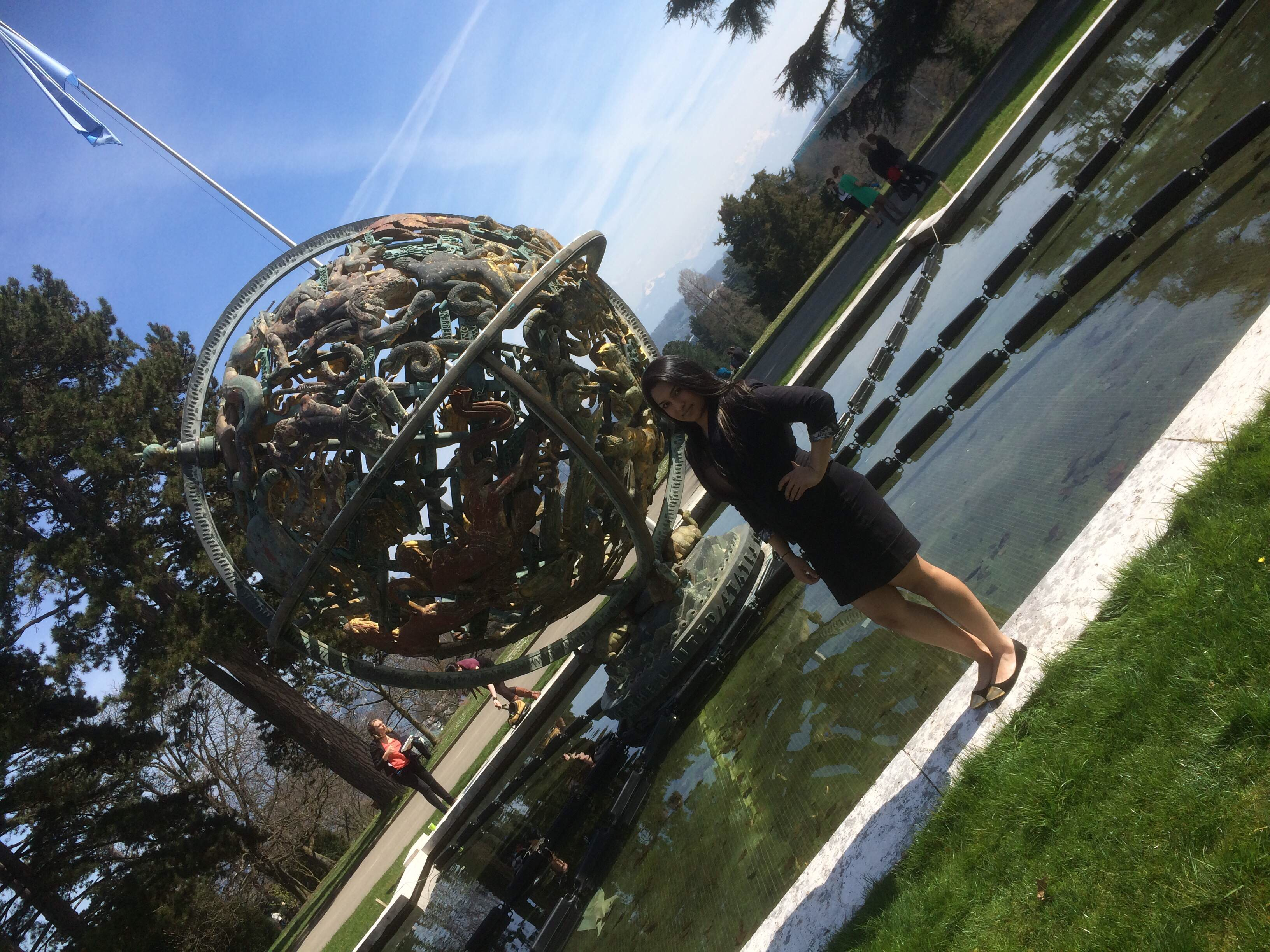 Rumsha Zahid '15 in the gardens of the Palais des Nations at the 2014 Geneva International Model UN conference in Switzerland.
