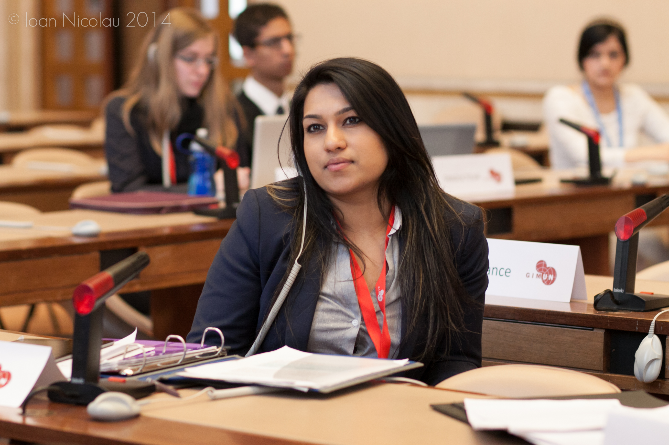 Pace University student Rumsha Zahid '15 representing Albania in a simulation of the Economic and Social Council at the 2014 Geneva International Model UN conference. Photo courtesy of GIMUN.