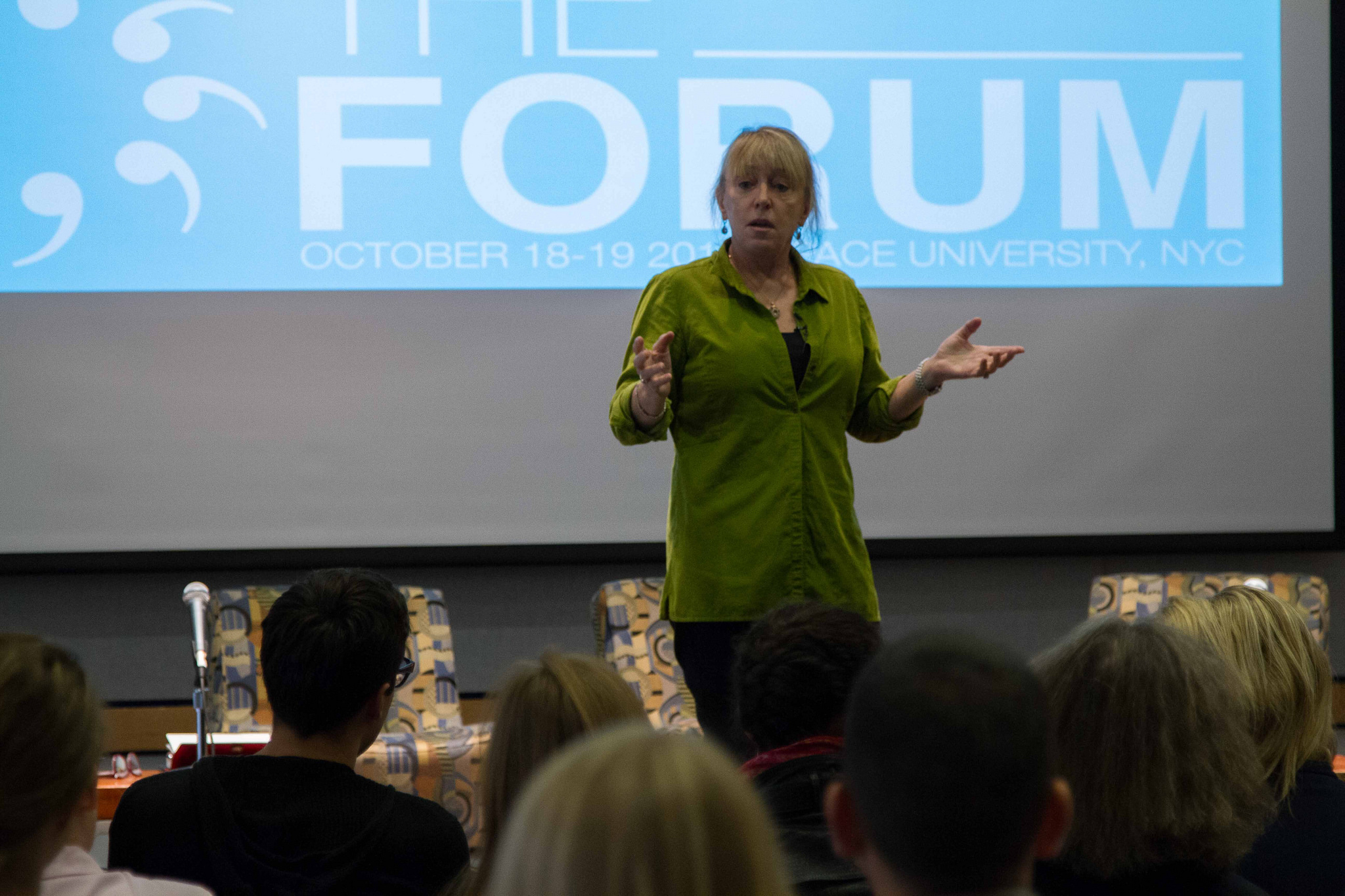 Nobel Peace Prize Laureate Jody Williams delivering keynote address at the 2014 Disarmament Forum at Pace University New York City. Photo: Control Arms.