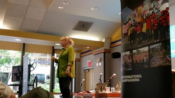 Nobel Peace Prize Laureate Jody Williams at Pace University's Disarmament Forum 2014.