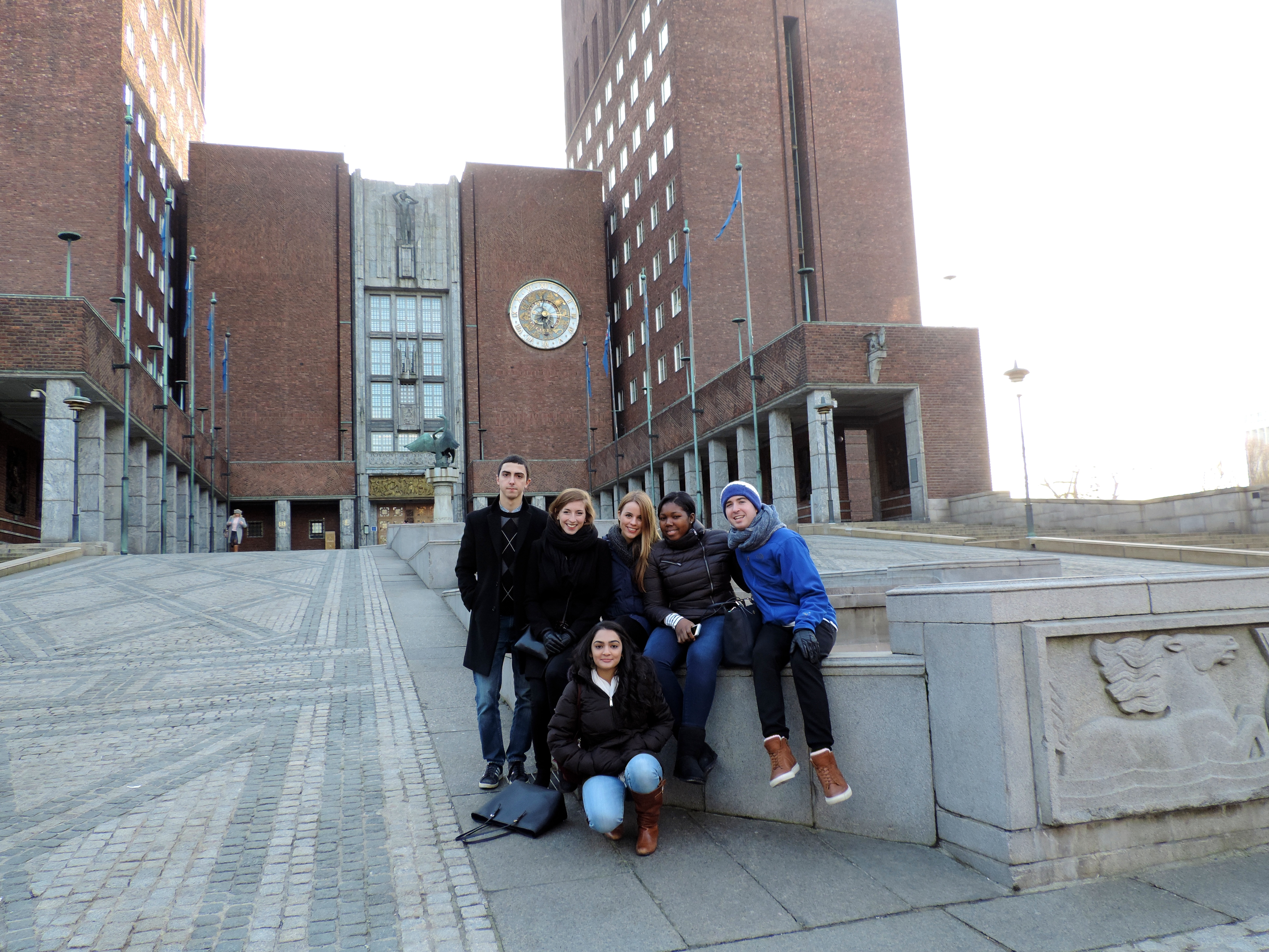 Pace New York City Model UN students visit Oslo City Hall while attending the 2015 OsloMUN conference in Norway.