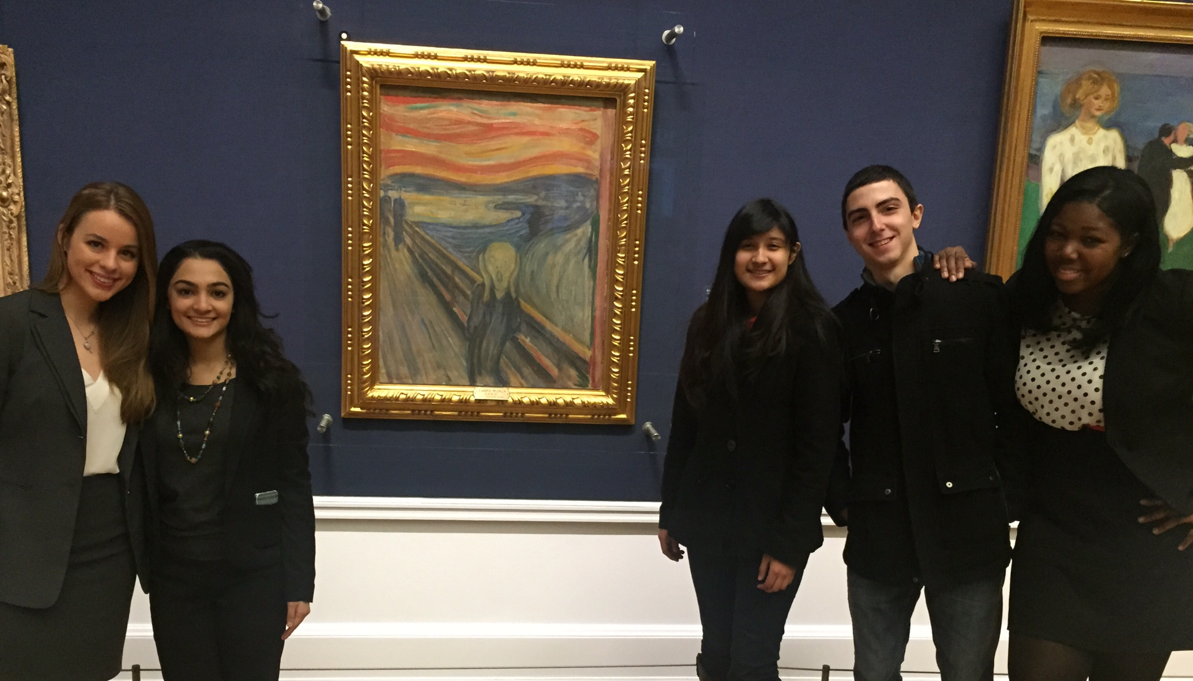 Pace University New York City Model UN students take a break from the 2015 OsloMUN conference to visit Edvard Munch's painting The Scream. Left to right: Lindita Capric '15, Priya Sakaria '17, Jennifer Diaz '16, Vato Gogsadze '15 and Shade Quailey '15.