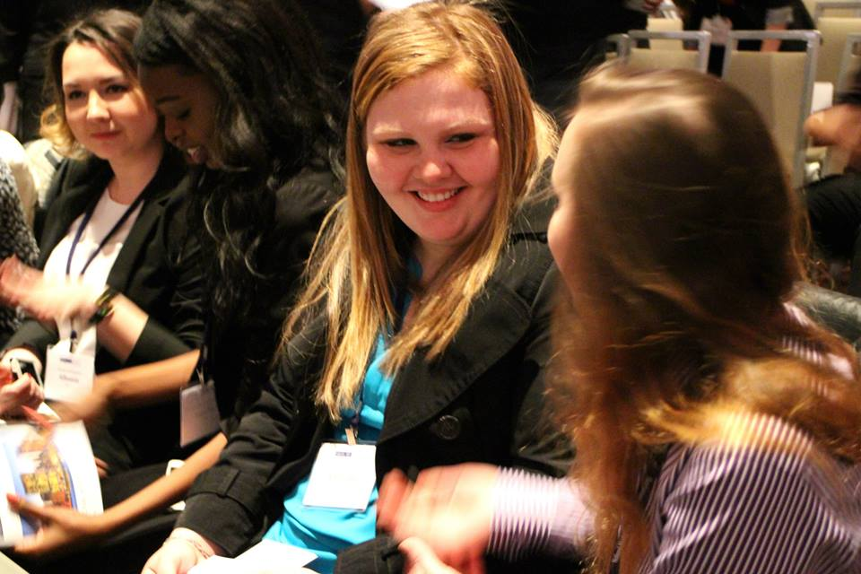 Izabella Kaminski (center) at the 2015 National Model United Nations conference Opening Ceremony in New York City.