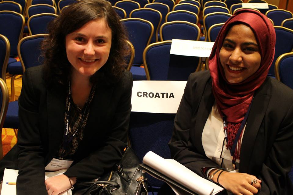 Pace University New York City students Yousra Bashir and Amandine Tristani represented Croatia at the 2015 National Model UN conference in Washington DC and were recognized with Outstanding Delegation and Outstanding Position Paper awards.