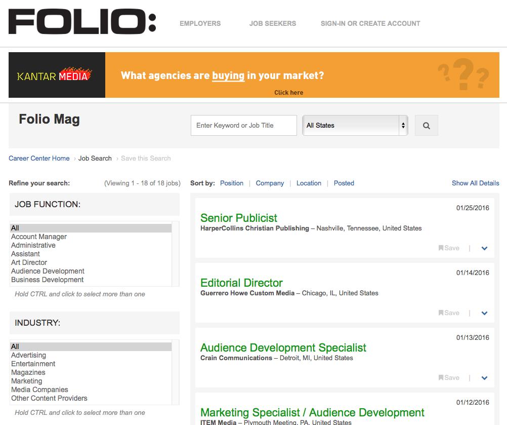 Folio Magazine Job Board
