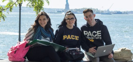 Three students studying with the Statue of Liberty New York City in the background