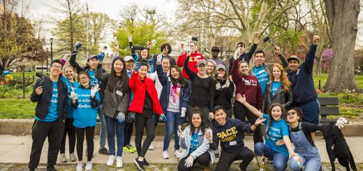 Pace students volunteering for Earth Day