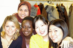 Group of happy au pairs studying English at Pace University in Westchester